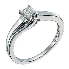 9ct white gold ring 1/4 carat princess cut diamond wrap ring - Product number 9579745
