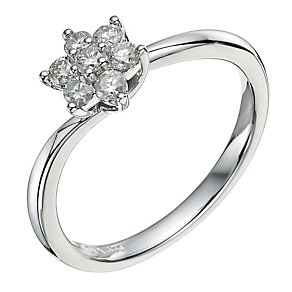 9ct White Gold 0.33 pt Diamond Cluster Flower Ring - Product number 9579885