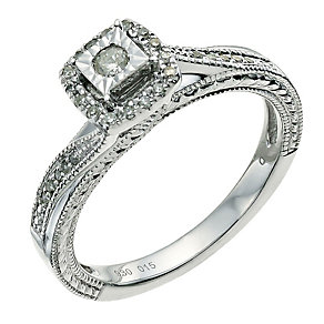 Argentium Silver  Diamond Halo Cluster Ring - Product number 9580158