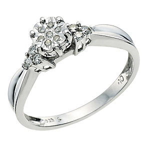 Sterling Silver Diamond Flower Cluster Ring - Product number 9580433