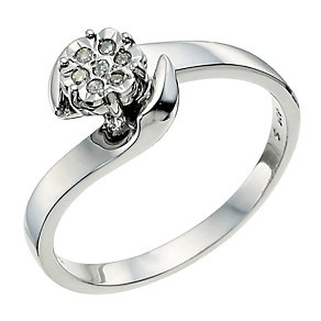 Sterling Silver Diamond Cluster Flower Ring - Product number 9580565
