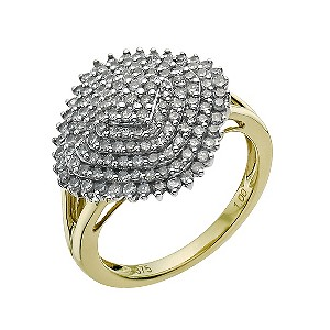 9ct Gold One Carat Diamond Cluster Ring - Product number 9581235