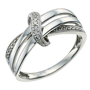Argentium Silver Diamond Set Twist Ring - Product number 9581634