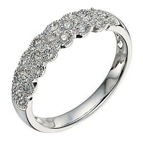 9ct White Gold Scallop Edged 1/3 Carat Diamond Eternity Ring - Product number 9582827