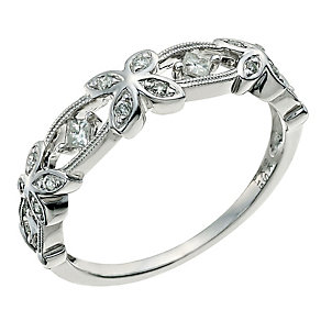 9ct White Gold Floral Diamond Eternity Ring - Product number 9583084