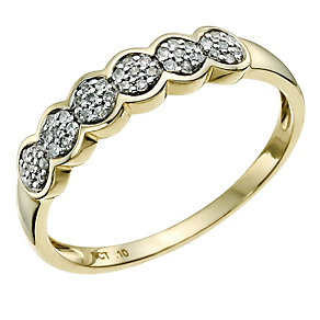 9ct Yellow Gold Diamond Cluster Eternity Ring - Product number 9583483