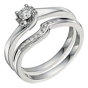 Argentinium Silver 1/4 Carat Diamond Bridal Set - Product number 9583629
