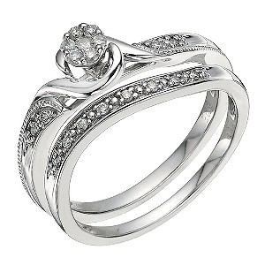 Argentinium Silver 0.15 Carat Diamond Bridal Set - Product number 9583769