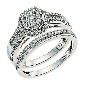 Perfect Fit 18ct White Gold 1/2 Carat Diamond Bridal Set - Product number 9584366