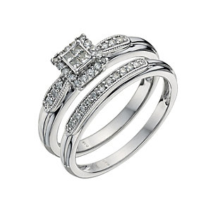 9ct White Gold 1/4 Carat Princess Cut Diamond Bridal Set - Product number 9585192