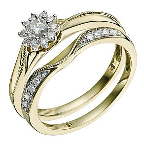 9ct Yellow Gold 1/3 Carat Diamond Bridal Set - Product number 9585990