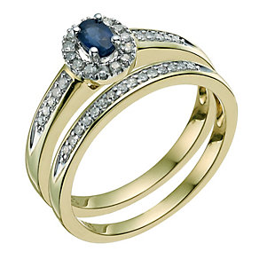 9ct Yellow Gold Diamond & Sapphire Bridal Set - Product number 9586113