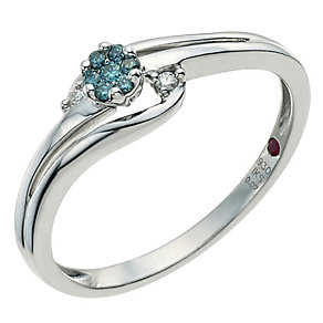 Cherished Argentium Silver & Treated Blue Diamond Ring - Product number 9586385