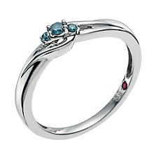 Cherished  Argentium Silver Blue Treated Diamond Ring - Product number 9586784
