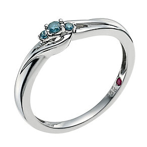 Cherished  Silver Blue Treated Diamond Ring - Product number 9586784