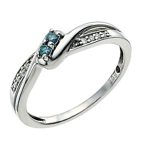 Cherished Argentium Silver & Treated Blue Diamond Ring - Product number 9586911