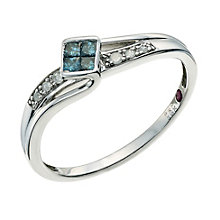 Cherished Argentium Silver Treated Blue Diamond Ring - Product number 9587187