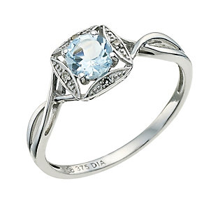 9ct White Gold Diamond & Blue Topaz Ring - Product number 9587454