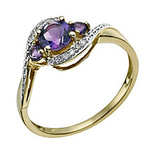 9ct Yellow Gold Diamond & Amethyst Ring - Product number 9587837