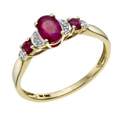 9ct Yellow Gold Diamond Treated Ruby Ring HSamuel