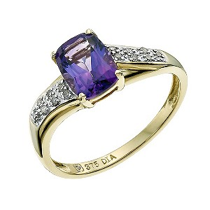 9ct Yellow Gold Amethyst & Diamond Ring - Product number 9588221