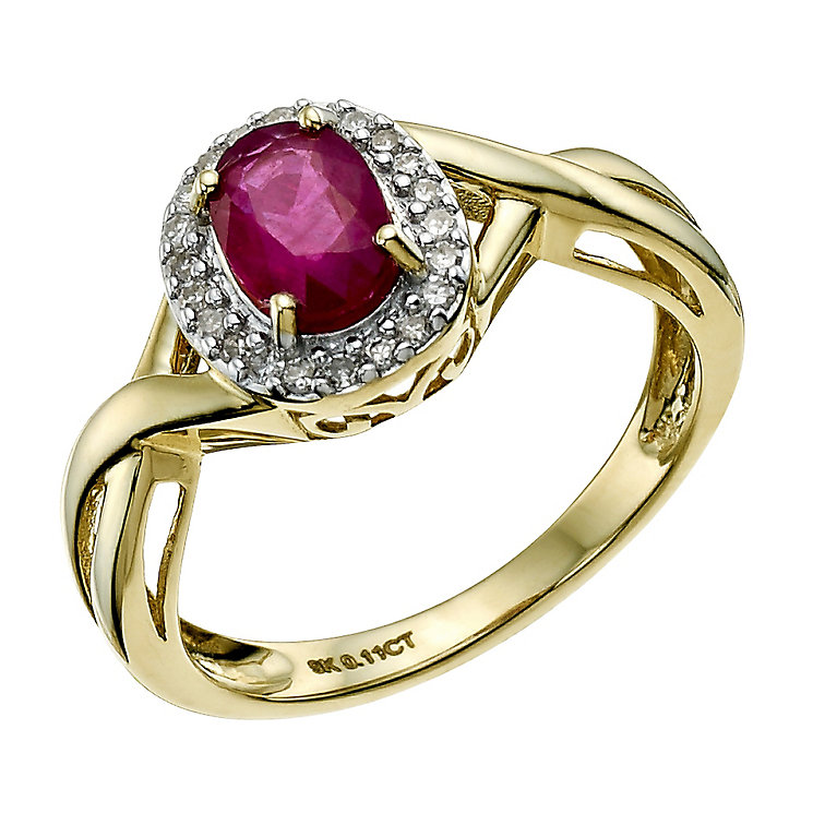 9ct Yellow Gold Oval Treated Ruby Ring - Product number 9588353
