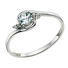 9ct White Gold Aquamarine & Diamond Solitaire Ring - Product number 9588493