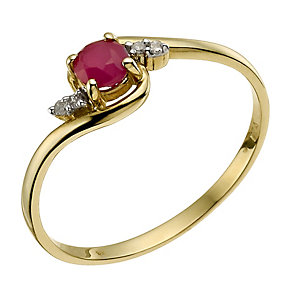 9ct Yellow Gold Diamond & Ruby Ring - Product number 9588760