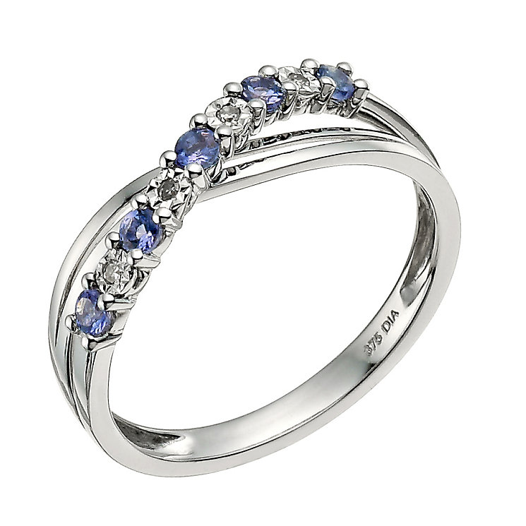 9ct white gold tanzanite crossover ring h samuel