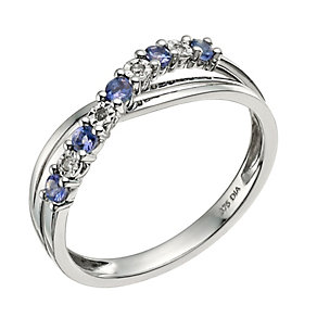 9ct White Gold Diamond & Tanzanite Crossover Ring - Product number 9589422