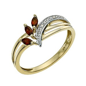 9ct Yellow Gold Diamond & Garnet Ring - Product number 9589562