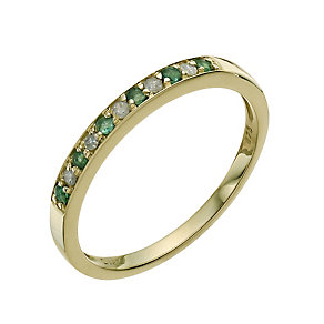 9ct Gold Diamond and Emerald Eternity Ring - Product number 9590080