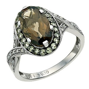 Le Mode Silver, Smokey Quartz, Peridot & Diamond Ring - Product number 9590749