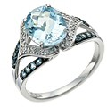 Le Mode Silver Blue Topaz and Diamond Ring - Product number 9590889