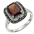 Le Mode Silver, Garnet, Smokey Quartz & Diamond Ring - Product number 9591028