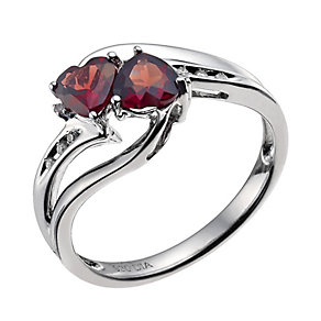 Candy Hearts Argentium Silver Garnet & Diamond Ring - Product number 9591540