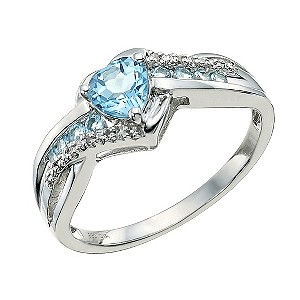 Candy Hearts Argentium Silver Blue Topaz & Diamond Ring - Product number 9591672