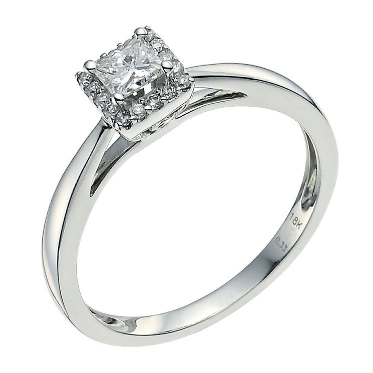 18ct white gold 0.33ct princess cut diamond halo ring - Product number 9593896