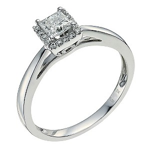 18ct white gold 1/2 carat diamond solitaire - Product number 9594175