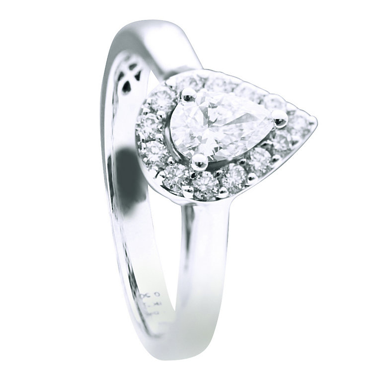 18ct white gold half carat pear diamond halo ring - Product number 9594604