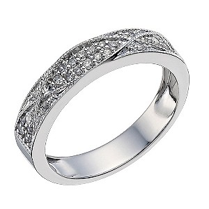 9ct White Gold Diamond Crossover Ring - Product number 9594876