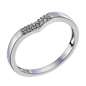 18ct White Gold Diamond Shaped Band - Product number 9595139