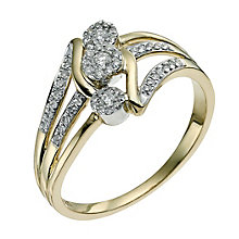 9ct yellow gold 0.25ct triple cluster diamond ring - Product number 9595279