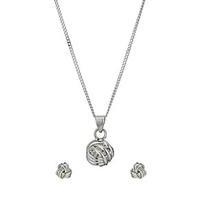 Silver Knot Pendant and Stud Earrings Set - Product number 9595961