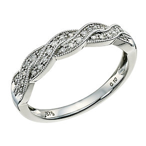 9ct White Gold & Diamond Twist Ring - Product number 9596127