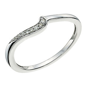 9ct White Gold Diamond Shaped Band - Product number 9596402