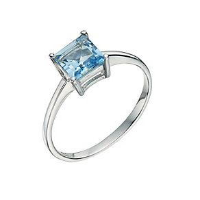 Silver and Blue Topaz Princess Cut Ring - Size L - Product number 9597204