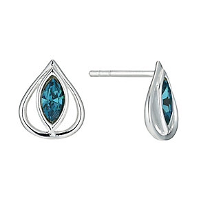 Silver and Blue Topaz Teardrop Stud Earrings - Product number 9597387