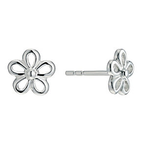Sterling Silver Open Flower Stud Earrings - Product number 9598006