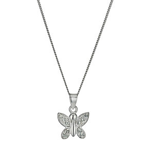 Sterling Silver Cubic Zirconia Small Butterfly Pendant - Product number 9598332